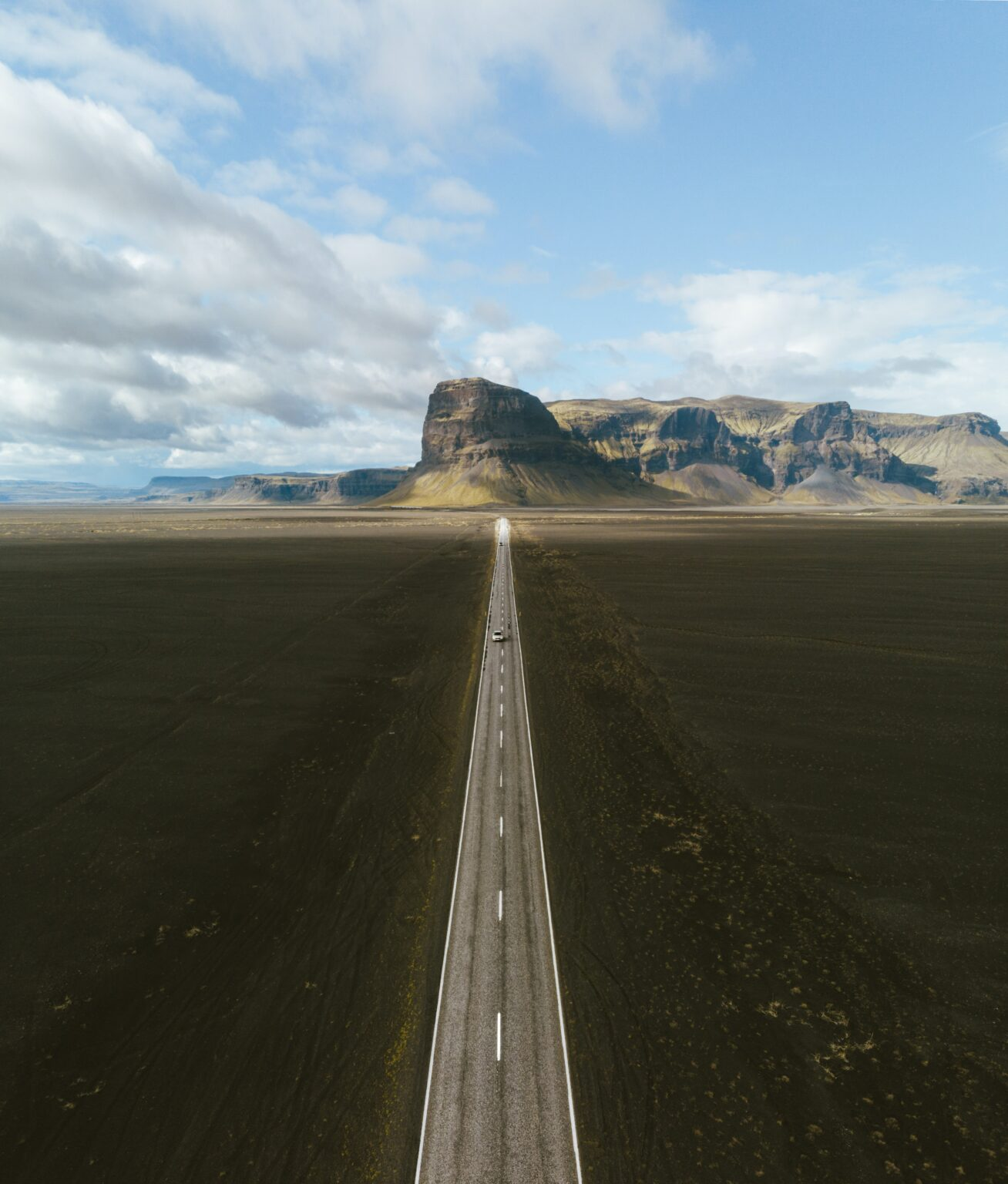 long road way with mountains